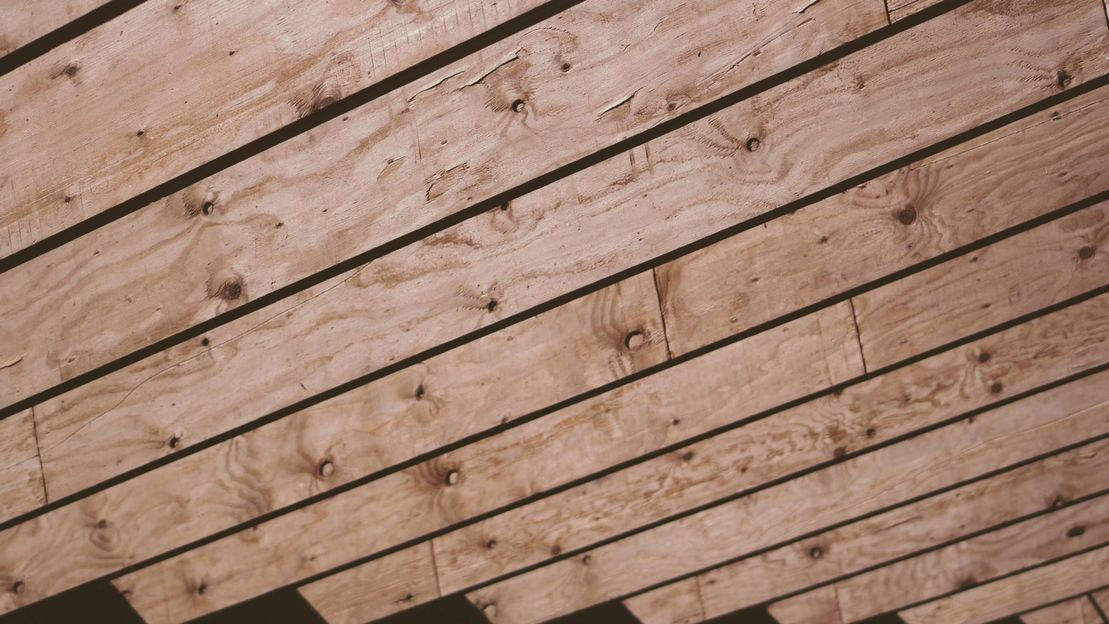 Wooden beams on a roof